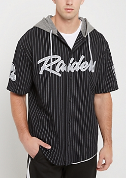 Oakland Raiders Hooded Baseball Jersey