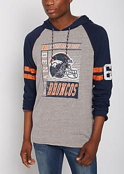 Denver Broncos Crackled Raglan Hoodie