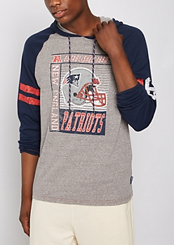 New England Patriots Crackled Raglan Hoodie
