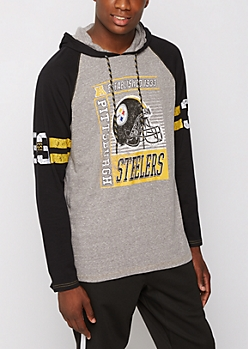 Pittsburgh Steelers Crackled Raglan Hoodie