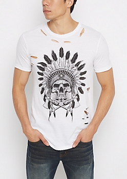 Skull Headdress Ripped Tee