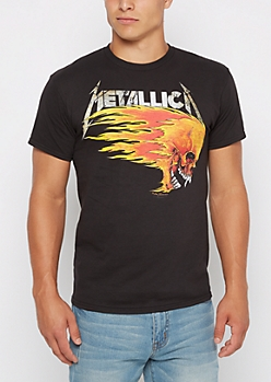 Metallica Flaming Skull Tee