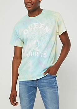 Queen Logo Pastel Tie Dye Tour Tee