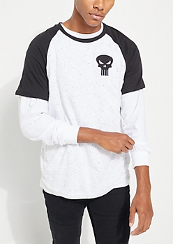 The Punisher Speckled Raglan Tee
