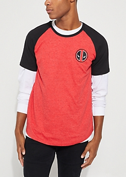 Deadpool Speckled Raglan Tee
