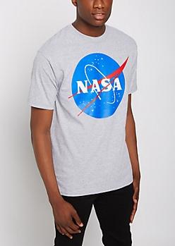 Heathered Gray NASA Logo Tee