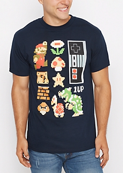 Retro Pixeled Mario Tee