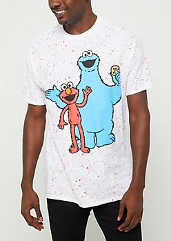 Cookie Monster & Elmo Paint Splattered Tee