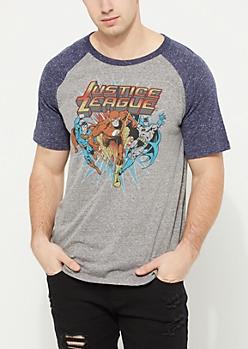 Justice League Heathered Raglan Tee