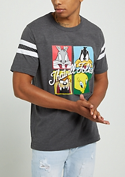Charcoal Gray Looney Tunes Collage Tee