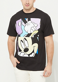 Black Mickey & Minnie Mouse Block Tee