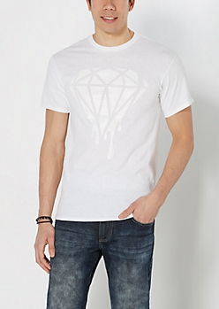 White on White Dripping Gem Tee