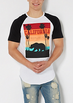 Striped Cali Republic Baseball Tee