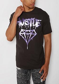Purple Foil Hustle Drip Gem Tee