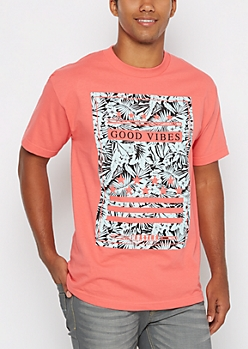 Good Vibes Tropical Striped Tee