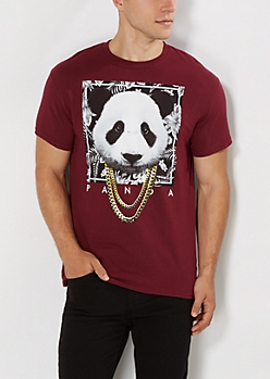 Panda in Chains Burgundy Tee