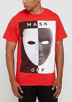 Red Mask Off Split Tee