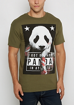 Olive Tatted Panda Tee