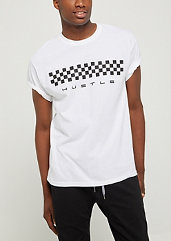 White Checkered Hustle Tee