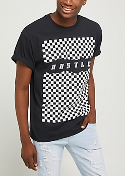 Hustle Ripped Checkered Tee