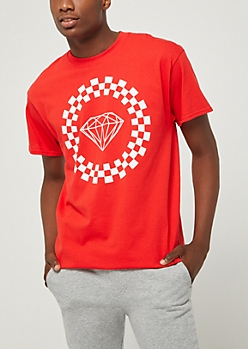 Red Checkered Gem Tee