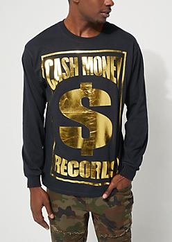 Cash Money Foiled Logo Long Sleeve Tee