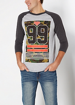 Gray Paint Splattered 99 Baseball Top