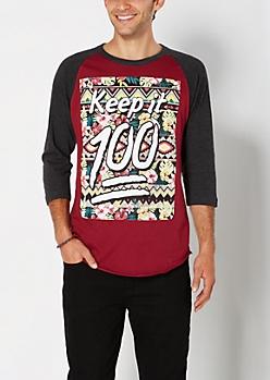 Keep It 100 Baseball Tee