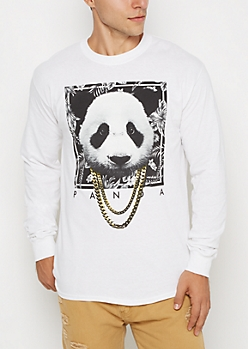 White Panda Chain Necklace Shirt