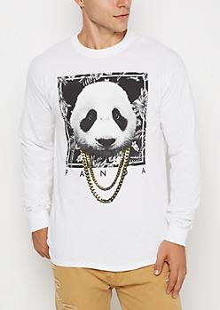White Panda Chain Necklace Shirt