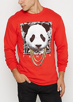 Red Panda Chain Necklace Shirt