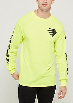 Neon Green Hustle Long Sleeve Tee