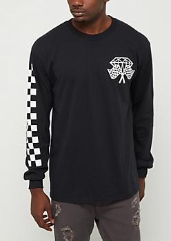 Checkered Gem Long Sleeve Tee