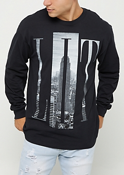 Black Lit Cityscape Long Sleeve Tee