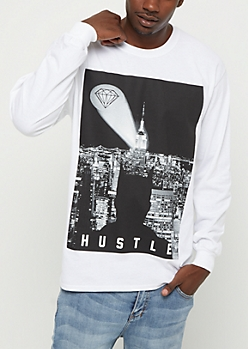 White Gem Signal Long Sleeve Tee