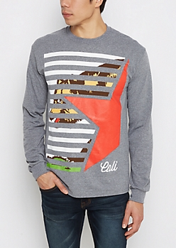 Heather Gray Striped Cali Shirt