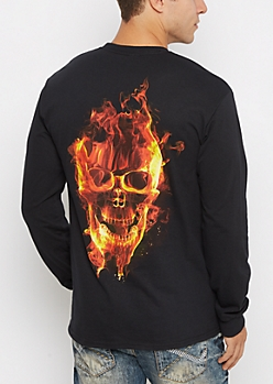 Lit Flaming Skull Shirt
