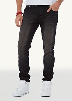 Sandblasted Black Wash Skinny Jean