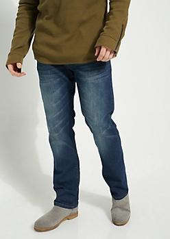 Flex Dark Blue Sandblasted Relaxed Straight Cut Jeans