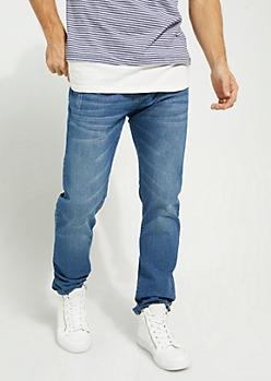 Flex Medium Blue Sandblasted Slim Straight Cut Jeans