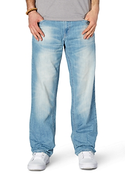 Sandblasted Light Wash Relaxed Straight Jean