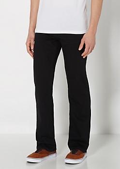 Black Stitched Slim Straight Jean