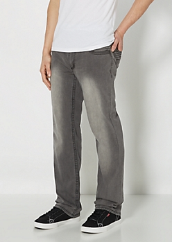 Gray Stiched Slim Straight Jean