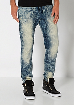 Medium Blue Acid Wash Jogger