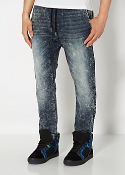Dark Blue Acid Wash Jogger