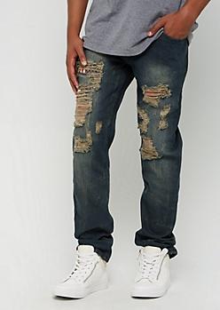 Dark Vintage Washed Ripped & Repaired Slim Jean