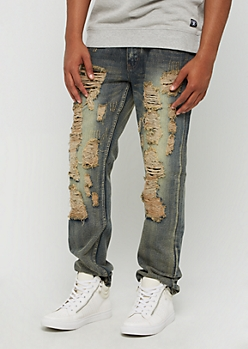 Vintage Washed Ripped & Repaired Skinny Jean
