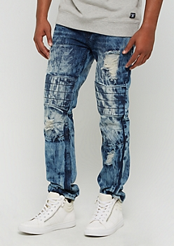 Acid Wash Destroyed Quilted Moto Slim Jeans