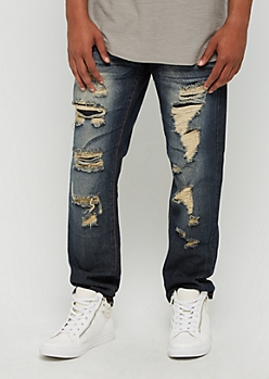 Sandblasted Ripped & Repaired Slim Jeans