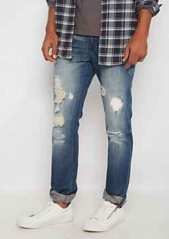 Patched & Destroyed Slim Jean